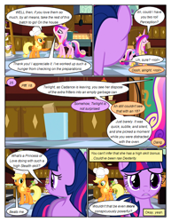Size: 612x792 | Tagged: safe, artist:newbiespud, edit, edited screencap, screencap, applejack, princess cadance, twilight sparkle, earth pony, pony, unicorn, comic:friendship is dragons, a canterlot wedding, cake, chef's hat, clothes, comic, confused, dialogue, disguise, disguised changeling, eyes closed, food, freckles, frown, grin, hat, hoof hold, hoof shoes, horn, indoors, jewelry, kitchen, ladder, looking back, magic, mouth hold, oven, paper bag, peytral, screencap comic, smiling, tiara, trash can, tray, unicorn twilight, wedding cake