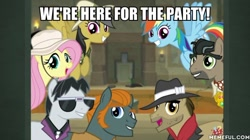 Size: 600x337 | Tagged: safe, edit, edited screencap, screencap, biff, daring do, doctor caballeron, fluttershy, rainbow dash, rogue (character), withers, daring doubt, caption, henchmen, image macro, text
