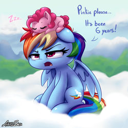 Size: 3000x3000 | Tagged: safe, alternate version, artist:arielsbx, pinkie pie, rainbow dash, pegasus, chibi, comparison, cute, dashabetes, dialogue, diapinkes, draw this again, duo, female, floppy ears, high res, on head, onomatopoeia, rainbow dash is not amused, redraw, self awareness, sleeping, sound effects, unamused, zzz