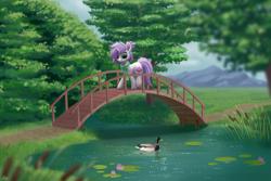Size: 3000x2000 | Tagged: safe, artist:luminousdazzle, oc, oc:orchid, bird, duck, pony, unicorn, bridge, high res, river, scenery, scenery porn, solo, tree