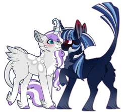 Size: 1500x1327 | Tagged: safe, artist:clay-bae, oc, oc only, oc:alto, oc:north star, pony, unicorn, curved horn, feathered fetlocks, horn, magical lesbian spawn, male, offspring, parent:fluttershy, parent:rarity, parent:tempest shadow, parent:twilight sparkle, parents:flarity, parents:tempestlight, simple background, stallion, tail feathers, transparent background