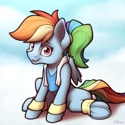Size: 4000x4000 | Tagged: safe, artist:ohemo, rainbow dash, pegasus, alternate hairstyle, exercise, female, frog (hoof), mare, open mouth, solo, underhoof