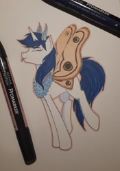 Size: 2534x3612 | Tagged: safe, artist:alicetriestodraw, oc, oc:mysza, moth, mothpony, original species, blue eyes, blue mane, colored sketch, eyes closed, horn, mare, solo, tongue out, traditional art, white fur