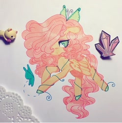 Size: 720x722 | Tagged: safe, artist:dollbunnie, fluttershy, butterfly, pegasus, butterfly hairpin, crystal, eyebrows, eyelashes, hair over one eye, hairpin, rilakkuma