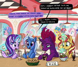 Size: 5400x4609 | Tagged: safe, artist:docwario, fizzlepop berrytwist, lemon hearts, minuette, moondancer, rarity, starlight glimmer, sunset shimmer, sweetie belle, tempest shadow, trixie, twinkleshine, pony, unicorn, broken horn, counterparts, dialogue, diner, female, food, horn, ice cream, mare, reformed unicorn meeting, twilight's counterparts
