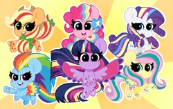 Size: 2048x1297 | Tagged: safe, artist:kittyrosie, applejack, fluttershy, pinkie pie, rainbow dash, rarity, twilight sparkle, alicorn, earth pony, pegasus, pony, unicorn, twilight's kingdom, cute, female, looking at you, mane six, mare, open mouth, rainbow power, smiling, spread wings, starry eyes, twilight sparkle (alicorn), wingding eyes, wings