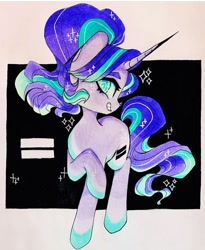 Size: 720x880 | Tagged: safe, artist:dollbunnie, starlight glimmer, unicorn, equality, evil starlight, eyebrows, eyelashes, marker drawing, smiling, solo, traditional art