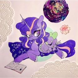 Size: 720x724 | Tagged: safe, artist:dollbunnie, spike, twilight sparkle, dragon, unicorn, blanket, book, cute, eyebrows, eyelashes, glasses, instagram, marker drawing, sleeping, traditional art