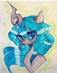 Size: 720x913 | Tagged: safe, artist:dollbunnie, queen chrysalis, changeling, changeling queen, cute, cutealis, eyebrows, eyelashes, female, instagram, solo, traditional art, watercolor painting