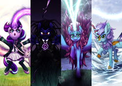 Size: 1191x842 | Tagged: safe, artist:calena, oc, oc only, alicorn, kirin, pegasus, pony, unicorn, alicorn oc, bag, clothes, darkness, grass, group, horn, ice, kirin oc, light, lightning, looking at you, magic, open mouth, raised hoof, wings