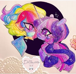 Size: 720x697 | Tagged: safe, artist:dollbunnie, rainbow dash, twilight sparkle, pegasus, blushing, colored pencil drawing, different hairstyle, eyelashes, female, glasses, heart eyes, instagram, lesbian, open mouth, ponytail, shipping, short mane, smiling, traditional art, twidash, wingding eyes