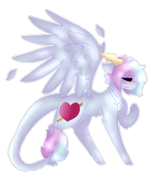 Size: 1312x1369 | Tagged: safe, artist:shinningblossom12, oc, oc only, demon, demon pony, original species, pony, black sclera, female, frown, horns, leonine tail, mare, raised hoof, simple background, solo, transparent background