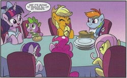 Size: 1715x1055 | Tagged: safe, artist:nanook123, idw, applejack, fluttershy, pinkie pie, rainbow dash, rarity, spike, twilight sparkle, alicorn, dragon, earth pony, pegasus, pony, unicorn, spoiler:comic, bib, bow, chair, dialogue, eyes closed, food, free comic book day, gem, looking at each other, mane seven, mane six, pancakes, plate, smiling, speech bubble, twilight sparkle (alicorn), winged spike