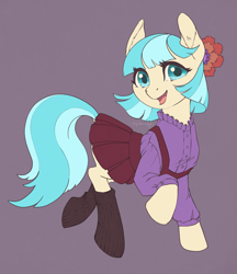 Size: 2590x3000 | Tagged: safe, artist:taytinabelle, coco pommel, earth pony, pony, button-up shirt, clothes, cocobetes, cute, dock, ear fluff, female, hair accessory, happy, high res, looking at you, mare, open mouth, pleated skirt, raised hoof, simple background, skirt, smiling, socks, solo