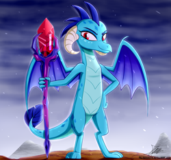 Size: 1871x1742 | Tagged: safe, artist:the-butch-x, princess ember, dragon, bloodstone scepter, digital art, dragon lord ember, dragoness, female, smiling, solo