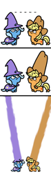 Size: 500x1700 | Tagged: safe, artist:paperbagpony, applejack, trixie, earth pony, pony, unicorn, applejack's hat, cape, clothes, comic, cowboy hat, doug dimmadome, duo, female, growth, hat, impossibly large hat, mare, open mouth, squatpony, ten gallon hat, trixie's cape, trixie's hat, wizard hat, woonoggles