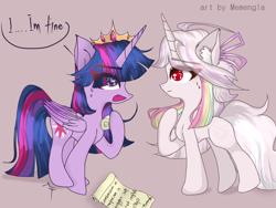 Size: 1600x1200 | Tagged: safe, artist:memengla, twilight sparkle, oc, oc:memengla, alicorn, pony, unicorn, crown, female, jewelry, regalia