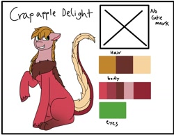 Size: 1280x992 | Tagged: safe, artist:imaginationstudios43, oc, oc:crab apple, draconequus, hybrid, pony, interspecies offspring, magical gay spawn, offspring, parent:big macintosh, parent:discord, parents:discomac, reference sheet, solo