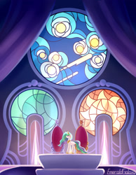 Size: 2100x2700 | Tagged: safe, artist:emeraldgalaxy, princess celestia, alicorn, pony, female, mare, solo, stained glass, throne room