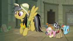 Size: 1920x1080 | Tagged: safe, screencap, biff, daring do, fluttershy, rainbow dash, rogue (character), withers, daring doubt, henchmen, truth talisman