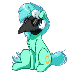 Size: 4000x4000 | Tagged: safe, artist:witchtaunter, lyra heartstrings, pony, unicorn, absurd resolution, female, plague doctor mask, simple background, sitting, solo, transparent background