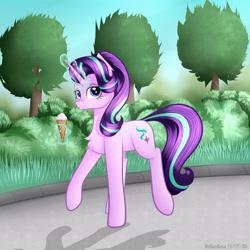 Size: 3000x3000 | Tagged: safe, artist:brilliant-luna, starlight glimmer, pony, unicorn, bush, chest fluff, female, food, grass, ice cream, ice cream cone, magic, solo, tree, walking
