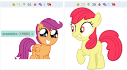 Size: 766x422 | Tagged: artist needed, safe, screencap, apple bloom, scootaloo, earth pony, pegasus, pony, derpibooru, cute, cutealoo, grin, juxtaposition, meta, missing accessory, shocked, smiling, solo, tags, wide eyes