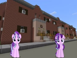 Size: 2048x1536 | Tagged: safe, artist:topsangtheman, artist:xebck, starlight glimmer, pony, unicorn, house, looking at you, minecraft, self ponidox