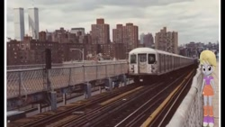 Size: 1334x750 | Tagged: safe, artist:topsangtheman, cloud kicker, pony, equestria girls, '90s, 3d, equestria girls in real life, irl, looking at you, new york city, new york city subway, photo, ponies in real life, solo, twin towers