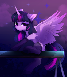 Size: 2980x3421 | Tagged: safe, artist:magnaluna, twilight sparkle, alicorn, pony, adorasexy, balancing beam, cheek fluff, chest fluff, clothes, cute, ear fluff, female, high res, leg fluff, mare, sexy, sitting, socks, solo, spread wings, stockings, thigh highs, twiabetes, twilight sparkle (alicorn), wings