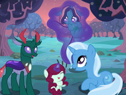 Size: 512x384 | Tagged: safe, artist:jadeeverlast, pharynx, trixie, oc, oc:crystal clear, oc:mystic, changedling, changeling, changepony, hybrid, adopted offspring, family, female, interspecies offspring, male, offspring, parent:pharynx, parent:trixie, parents:phartrix, phartrix, prince pharynx, shipping, straight