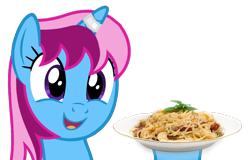 Size: 2348x1500   Tagged: safe, alternate version, artist:indonesiarailroadpht, oc, oc only, oc:parcly taxel, alicorn, pony, alicorn oc, female, food, horn, mare, pasta, simple background, smiling, solo, spaghetti, transparent background, wings