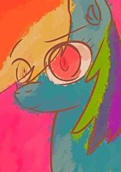 Size: 1024x1447   Tagged: safe, artist:ionipony, rainbow dash, digital art, eyebrows, hair over one eye, smiling, solo