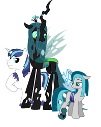 Size: 2048x2568 | Tagged: safe, queen chrysalis, shining armor, oc, oc:chrysalling armor, changeling, changeling queen, changepony, hybrid, unicorn, crack shipping, female, half-changeling oc, interspecies offspring, male, next generation, offspring, parent:queen chrysalis, parent:shining armor, parents:shining chrysalis, shining chrysalis, shipping, straight