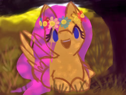 Size: 1024x768   Tagged: safe, artist:ionipony, fluttershy, pegasus, blue eyes, floral head wreath, flower, forest background, happy, open mouth, smiling, solo, tree