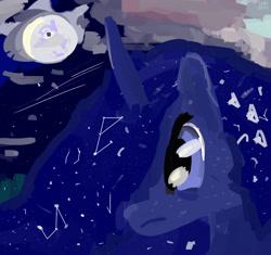 Size: 3000x2818   Tagged: safe, artist:ionipony, princess luna, cloud, digital art, moon, night, sad, solo