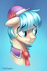 Size: 2000x3000 | Tagged: safe, artist:jedayskayvoker, coco pommel, earth pony, pony, blushing, bust, cocoa cantle, cocobetes, cute, eyebrows, eyebrows visible through hair, floppy ears, gradient background, hat, high res, looking away, male, necktie, portrait, rule 63, shy, signature, solo, stallion