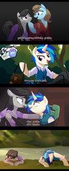 Size: 1920x4720 | Tagged: safe, artist:yaaaco, beauty brass, dj pon-3, limelight, neon lights, octavia melody, rising star, vinyl scratch, earth pony, pony, unicorn, alternate hairstyle, alternate universe, angry, annoyed, bag, belt, bondage, censored vulgarity, chair, clothes, comic, crossover, disney, disney princess, dress, eyepatch, eyes closed, female, flynn rider, hoof on chin, lesbian, male, mare, mother gothel, open mouth, raised hoof, rapunzel, rock, saddle bag, scratchtavia, shipping, shirt, stallion, tangled (disney), tied to chair, tied up, vest, water, wet, wet mane