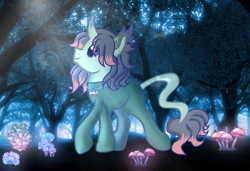 Size: 1896x1294 | Tagged: safe, artist:doraeartdreams-aspy, oc, oc only, oc:fluffybriefs, pony, unicorn, bodysuit, catsuit, forest, hippie, horn, jewelry, latex, latex suit, leonine tail, looking up, magical, male, mushroom, mystical, necklace, outdoors, peace suit, peace symbol, rubber suit, smiling, solo, stallion, strolling, transgender, tree
