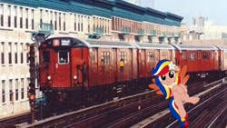 Size: 1334x750 | Tagged: safe, artist:jhayarr23, artist:topsangtheman, oc, oc:pearl shine, pegasus, pony, '90s, irl, looking at you, nation ponies, new york city, new york city subway, philippines, photo, ponies in real life, train