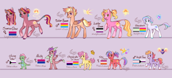 Size: 6356x2893 | Tagged: safe, artist:snowballflo, li'l cheese, luster dawn, oc, oc:knight flare, oc:misty, oc:olivine, oc:solar beam, oc:star charm, oc:starstruck, oc:sunrise glow, dragon, earth pony, pony, unicorn, heartverse, the last problem, agender pride flag, alternate hairstyle, asexual pride flag, bisexual pride flag, blushing, brother and sister, dragon oc, female, genderfluid, genderfluid pride flag, jewelry, leonine tail, lesbian pride flag, magical gay spawn, magical lesbian spawn, male, mare, markings, multicolored hair, necklace, offspring, older li'l cheese, open mouth, pansexual, pansexual pride flag, parent:cheese sandwich, parent:flash sentry, parent:mina, parent:pinkie pie, parent:spike, parent:starlight glimmer, parent:sunburst, parent:sunset shimmer, parent:trixie, parent:twilight sparkle, parents:cheesepie, parents:flashburst, parents:flashimmer, parents:spina, parents:starburst, parents:startrix, parents:sunsetsparkle, pride, pride flag, purple background, raised hoof, siblings, simple background, stallion, trans boy, transgender, transgender pride flag, unshorn fetlocks
