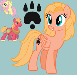 Size: 924x894 | Tagged: safe, artist:drancarola135, artist:shiibases, big macintosh, fluttershy, oc, oc:butterfly, earth pony, pegasus, pony, base used, cutie mark, female, fluttermac, male, offspring, parent:big macintosh, parent:fluttershy, parents:fluttermac, paw prints, pegasus oc, shipping, straight, wings