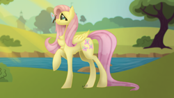 Size: 1280x720 | Tagged: safe, artist:karathepony, fluttershy, butterfly, pegasus, pony, butterfly on nose, chest fluff, crepuscular rays, female, folded wings, insect on nose, looking at something, mare, outdoors, pond, profile, raised hoof, smiling, solo, standing, water, wings