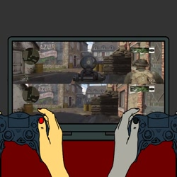 Size: 768x768   Tagged: safe, raven, sunset shimmer, human, equestria girls, call of duty ww2, hand, playstation 4, teen titans, video game