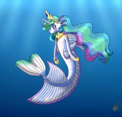 Size: 2100x2000 | Tagged: safe, artist:midnightfire1222, princess celestia, alicorn, angler fish, fish, merpony, pony, angler seapony, simple background, solo, species swap, underwater