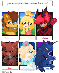 Size: 1164x1446 | Tagged: safe, artist:ramufuu, princess luna, alicorn, anthro, chipmunk, dog, pony, six fanarts, :d, alastor, animal crossing, animatronic, anthro with ponies, bust, clothes, crossover, crown, female, five nights at freddy's, foxy, hair over one eye, hazbin hotel, hook, isabelle, jewelry, mare, open mouth, peytral, princess rosalina, regalia, rosalina, sally acorn, smiling, sonic the hedgehog (series), super mario bros., tiara