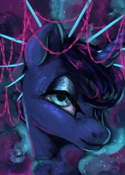 Size: 900x1265   Tagged: safe, artist:laps-sp, princess luna, alicorn, bust, chains, crown, digital painting, ethereal mane, female, jewelry, lidded eyes, looking at you, mare, nebula mane, portrait, regalia, signature, smiling, solo