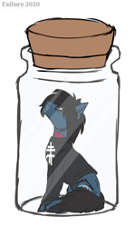 Size: 1728x2904 | Tagged: safe, artist:failure, earth pony, pony, undead, zombie, zombie pony, bags under eyes, bring me the horizon, clothes, commission, drop dead clothing, glasgow smile, hair over one eye, jar, lewd container meme, long sleeves, looking up, male, oh god damn it no, oh god no, oh no, oliver sykes, ponified, pony in a bottle, scar, shirt, simple background, sitting, solo, stallion, stitches, tattoo, torn ear, white background, ych result