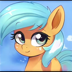 Size: 1024x1024   Tagged: safe, artist:thisponydoesnotexist, edit, editor:diego96, oc, unnamed oc, earth pony, pony, artificial intelligence, female, neural network, sky, solo