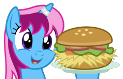 Size: 2348x1500 | Tagged: safe, alternate version, artist:indonesiarailroadpht, oc, oc only, oc:parcly taxel, alicorn, pony, alicorn oc, borgarposting, burger, female, food, horn, mare, simple background, smiling, solo, transparent background, wings